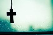 십자가,부활절,고난주간,사순절,창문,이슬,실루엣,빗방울