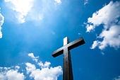 십자가,부활절,고난주간,사순절,나무십자가,하늘,맑은하늘,햇빛,구름,파랑