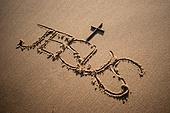 십자가,부활절,고난주간,사순절,나무십자가,JESUS,해변,모래,이름
