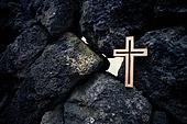 십자가,부활절,고난주간,사순절,나무십자가,바위,희망
