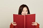 한국인, 학생, 고등학생, 여성, 여학생, 책, 공부, 윙크