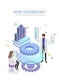 기술, 4차산업혁명 (산업혁명), 신기술, 발전 (컨셉), 연구 (주제), 그래프, 태엽, 생명공학