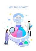 기술, 4차산업혁명 (산업혁명), 신기술, 발전 (컨셉), 연구 (주제), 그래프, 돋보기, 원뿔플라스크 (플라스크)