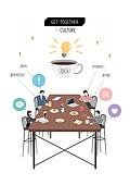 회식, 문화와예술 (주제), 화이트칼라 (전문직), 비즈니스, 레저활동 (주제), 카페, 커피 (뜨거운음료)