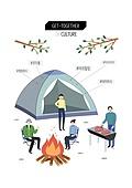 회식, 문화와예술 (주제), 화이트칼라 (전문직), 비즈니스, 레저활동 (주제), 캠핑, 모닥불 (불)