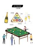 회식, 문화와예술 (주제), 화이트칼라 (전문직), 비즈니스, 레저활동 (주제), 당구, 샴페인 (와인)
