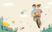 가족, 봄, 라이프스타일, 꽃, 행복, 부모, 어린이 (인간의나이)