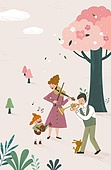 가족, 봄, 라이프스타일, 꽃, 행복, 부모, 어린이 (인간의나이), 음악