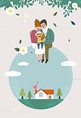 가족, 봄, 라이프스타일, 꽃, 행복, 부모, 어린이 (인간의나이), 집
