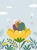 가족, 봄, 라이프스타일, 꽃, 행복, 부모, 할아버지 (조부모), 할머니 (조부모)