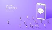 라이프스타일, 사람, 미니어쳐 (공예품), SNS (기술), 스마트폰, 말풍선
