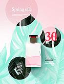 봄, 화장품, 세일, 꽃