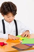 한국인, 어린이 (인간의나이), 초등학생, 종이접기, 창의성 (컨셉)