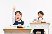 한국인, 어린이 (인간의나이), 초등학생, 학생, 수업중 (교육), 공부 (움직이는활동), 미소, 넘버원, 손들기, 자신감, 창의성 (컨셉)