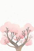 백그라운드, 수채화 (회화기법), 번짐, 봄, 벚꽃, 꽃잎, 가지 (식물부분)