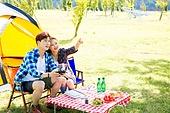 커플 (인간관계), 여유로운주말 (레저활동), 휴가, 여행, 캠핑, 드론, 미소