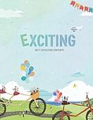 일러스트, 동화, 몽환적인색채, 미니어쳐 (공예품), 마을, 백그라운드, 컬러, 취미 (주제), 자전거, 소풍 (아웃도어), 여행, 어린이날 (홀리데이)