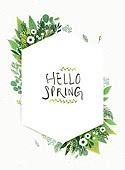 수채화 (회화기법), 봄, 꽃, 프레임, 캘리그래피 (문자)