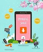 상업이벤트 (사건), 축하이벤트 (사건), 세일 (사건), 쇼핑, 미니어쳐 (공예품), 스마트폰, 모바일어플리케이션 (인터넷), 쿠폰, 벚꽃