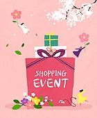 상업이벤트 (사건), 축하이벤트 (사건), 세일 (사건), 쇼핑, 미니어쳐 (공예품), 선물 (인조물건), 장식리본 (장식품), 봄, 벚꽃