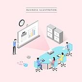 비즈니스, 비즈니스맨, 비즈니스우먼, 4차산업혁명 (산업혁명), 컴퓨터네트워크 (컴퓨터장비), 칠판 (시각교재), 비즈니스미팅 (미팅), 회의실