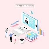 비즈니스, 비즈니스맨, 비즈니스우먼, 4차산업혁명 (산업혁명), 컴퓨터네트워크 (컴퓨터장비), 스마트폰, 와이파이, 화상회의 (컨퍼런스콜)