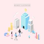 비즈니스, 비즈니스맨, 비즈니스우먼, 4차산업혁명 (산업혁명), 컴퓨터네트워크 (컴퓨터장비), 그래프, 회사건물 (건물외관)