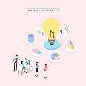 비즈니스, 비즈니스맨, 비즈니스우먼, 4차산업혁명 (산업혁명), 컴퓨터네트워크 (컴퓨터장비), 전구, 그래프, 아이디어, 회의