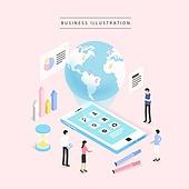 비즈니스, 비즈니스맨, 비즈니스우먼, 4차산업혁명 (산업혁명), 컴퓨터네트워크 (컴퓨터장비), 지구 (행성), 스마트폰, 글로벌
