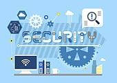 비즈니스, 기술, 4차산업혁명 (산업혁명), 타이포, 보안 (컨셉), 개인정보 (보안), 태엽