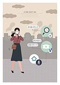 라이프스타일, 공해, 스모그 (대기오염), 환경보호 (환경), 질병, 보호 (컨셉), 마스크 (방호용품)