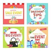 일러스트, 벡터파일 (일러스트), 웹템플릿, 배너, 축하이벤트 (사건), 상업이벤트 (사건), 세일 (사건), Open, 프레임, 쇼핑, 선물 (인조물건)