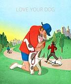 라이프스타일, 독신 (역할), 싱글라이프 (주제), 애완동물 (길든동물), 공원, 걷기 (신체활동), 강아지, 포옹