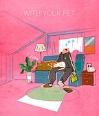 라이프스타일, 독신 (역할), 싱글라이프 (주제), 애완동물 (길든동물), 거실, 강아지, 고양이 (고양잇과)