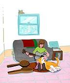 라이프스타일, 독신 (역할), 싱글라이프 (주제), 애완동물 (길든동물), 거실, 강아지, 악기, 기타 (현악기)