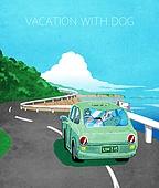 라이프스타일, 독신 (역할), 싱글라이프 (주제), 애완동물 (길든동물), 자동차 (자동차류), 도로, 휴가, 여름, 강아지