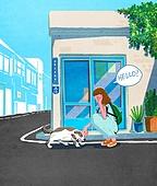 라이프스타일, 독신 (역할), 싱글라이프 (주제), 애완동물 (길든동물), 여름, 휴가, 강아지