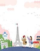 봄, 일러스트, 여행, 휴가, 데이트, 관광
