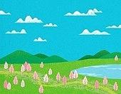 백그라운드, 풍경 (컨셉), 자연 (주제), 봄, 잔디밭 (경작지), 초원 (자연의토지상태), 벚꽃, 하늘