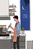 라이프스타일, 혼밥 (컨셉), 독신 (역할), 라이프스타일 (주제), 주방, 요리하기 (음식준비), 비즈니스맨, 저녁식사 (식사), 혼밥