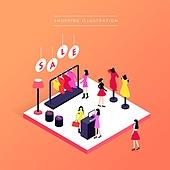 상업이벤트 (사건), 쇼핑, 세일 (사건), 아이소메트릭 (구도), 옷가게