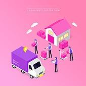상업이벤트 (사건), 쇼핑, 세일 (사건), 아이소메트릭 (구도), 소포 (포장), 배달부 (직업), 트럭 (육상교통수단)