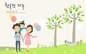 일러스트, 벡터파일 (일러스트), 가정의달, 5월, 가족, 행복, 사랑 (컨셉), 봄