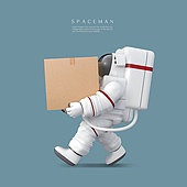 그래픽이미지 (Computer Graphics), 합성, 합성용백그라운드 (이미지), 우주비행사 (운송직업), 운반 (홀딩), 교통수단 (인조물건), 운수 (주제), 배달, 배송안내 (배달), 배달부 (직업)