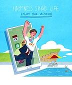 라이프스타일, 한명 (사람의수), 독신 (역할), 청년 (성인), 스마트폰, 모바일어플리케이션 (인터넷), 일과 (컨셉), 수영장