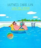 라이프스타일, 한명 (사람의수), 독신 (역할), 청년 (성인), 휴가, 즐거움 (컨셉), 여름, 휴양 (컨셉), 수영 (움직이는활동), 수영장