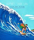 라이프스타일, 한명 (사람의수), 독신 (역할), 청년 (성인), 휴가, 즐거움 (컨셉), 여름, 휴양 (컨셉), 서핑, 바다, 레저활동 (주제)