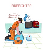 직업, 라이프스타일, 일 (물리적활동), 소방관, 소방대원, 환자, 구급대원