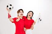 커플 (인간관계), 월드컵축구 (스포츠이벤트), 대한민국 (한국), 환호 (말하기), 축구공, 들어올리기 (물리적활동), 태극기, 화이팅, 기쁨