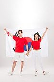 커플 (인간관계), 월드컵축구 (스포츠이벤트), 대한민국 (한국), 환호 (말하기), 들어올리기 (물리적활동), 태극기, 손잡기, 미소